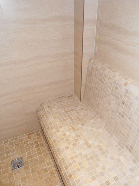 Tiled bench for the steam room